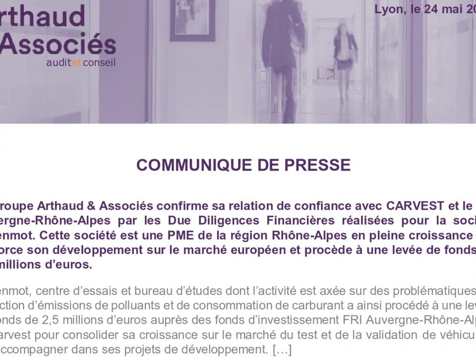Arthaud & Associés renforce sa position de partenaire de confiance auprès du fonds d'investissement CARVEST et du FRI Auvergne Rhônes-Alpes